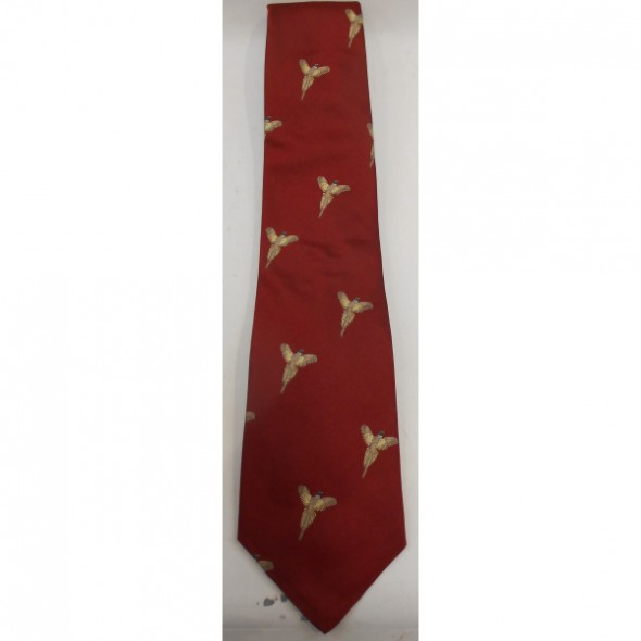Atkinsons: Silk tie Red/Flying pheasant