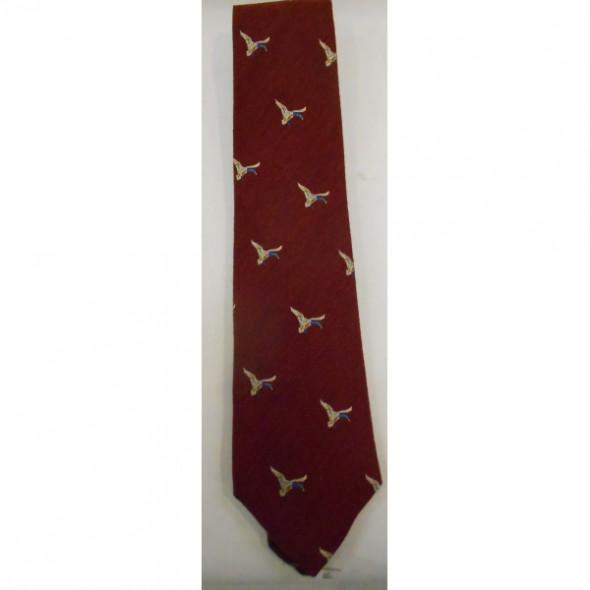 NEW Atkinsons: Tie  Wool/silk Burgundy/Flying duck