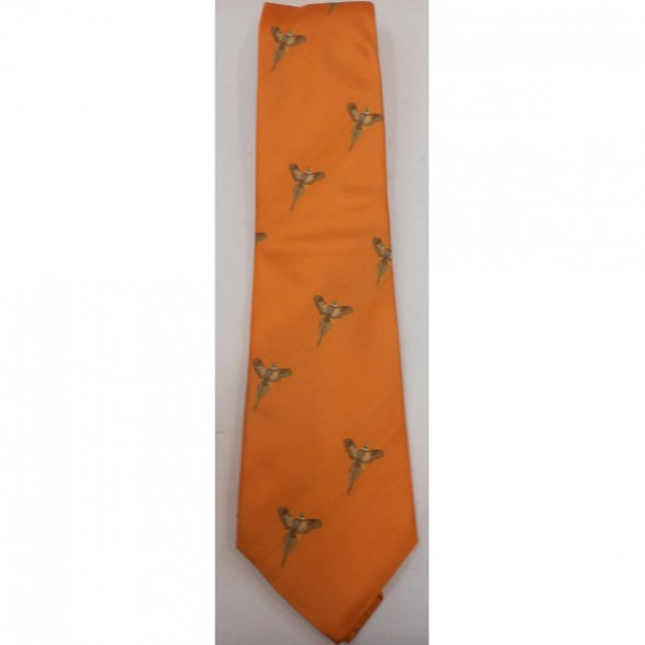 Atkinsons Silk tie Orange/Flying pheasant
