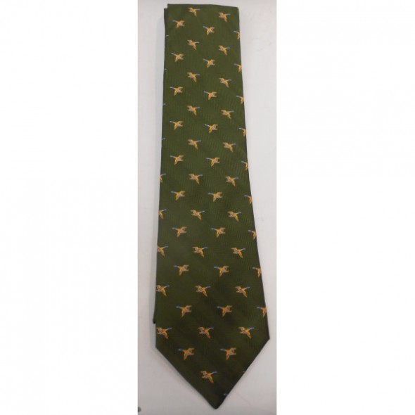 NEW Atkinsons: Silk tie Green herringbone/Duck