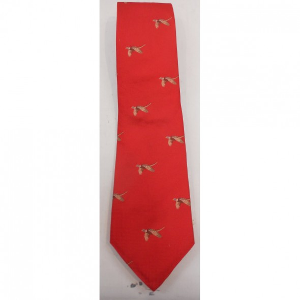 NEW Atkinsons: Silk tie Bright red/Flying pheasant