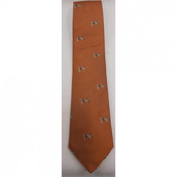 NEW Atkinsons: Silk tie Burnt Orange/Flying pheasant
