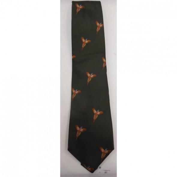 Atkinsons Silk tie Dk Green/Flying pheasant