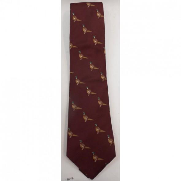 Atkinsons-Silk tie Burgundy/Standing pheasant