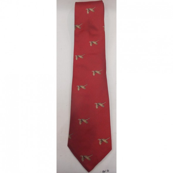 Atkinsons Silk tie red square/flying pheasant