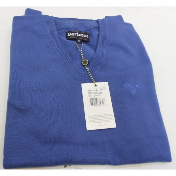 Barbour-Pima cotton v neck - Cobalt marl