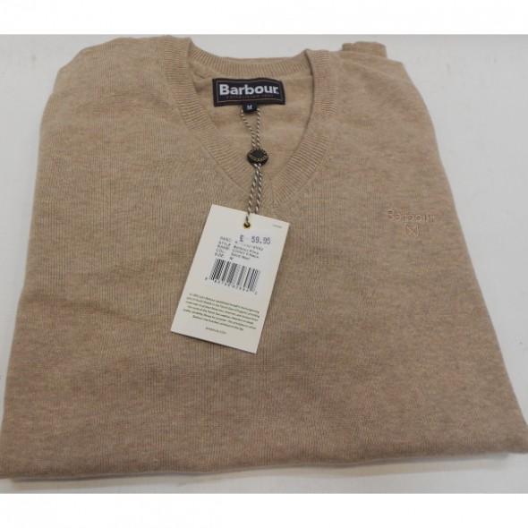 Barbour-Pima cotton V neck jumper - Sand marl