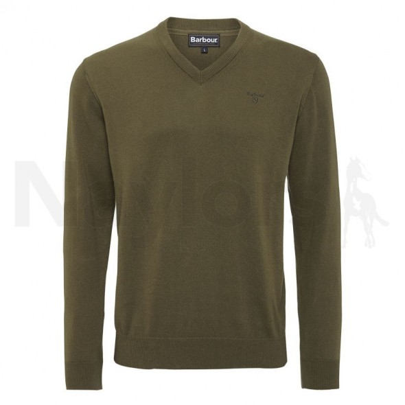 Barbour-Pima V neck cotton Olive