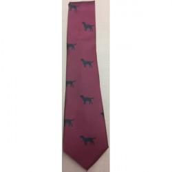Atkinsons-Polyester Tie Black Labrador on Wine