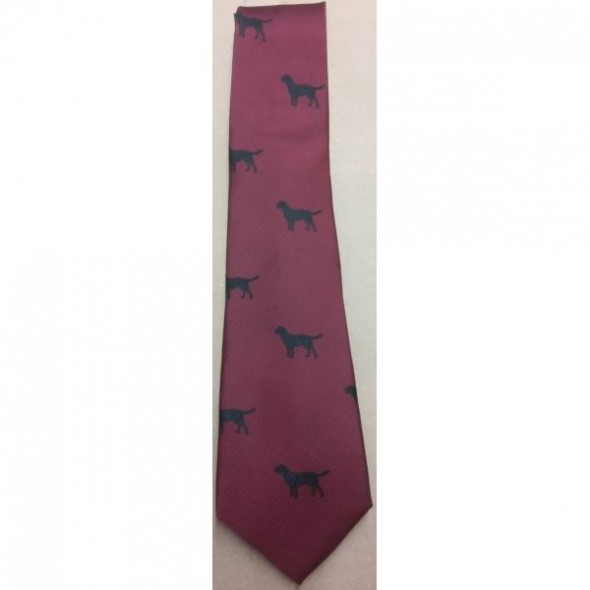 Atkinsons-Polyester Tie Black Labrador on Wine