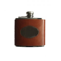 Bonart-Hip flask initials oval - Leather Brown 4 oz