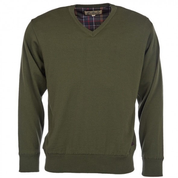 NEW Barbour Carlton V Neck Mid Olive