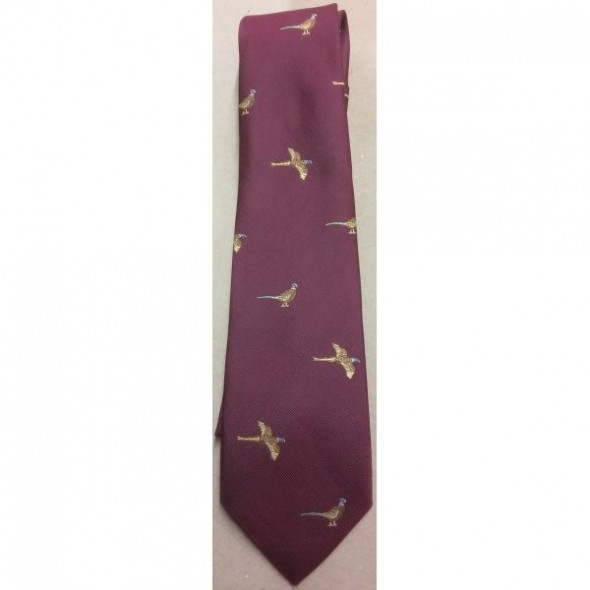 Atkinsons-Childrens Polyester Tie Pheasant Motif on Wine