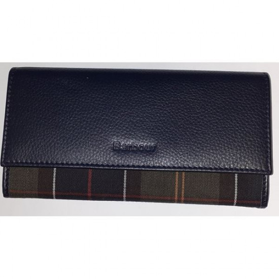Barbour-Convertible Leather Wallet Navy