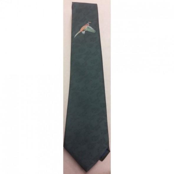 Atkinsons-Polyester Tie Pheasant Motif Dark Green