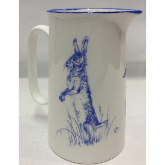 Muffet Monro-2 pint jug blue/white - Hare floppy ears