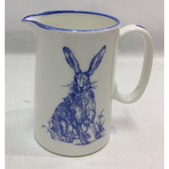 Muffet Monro-1/2 pint jug blue/white - Hare & wild flowers