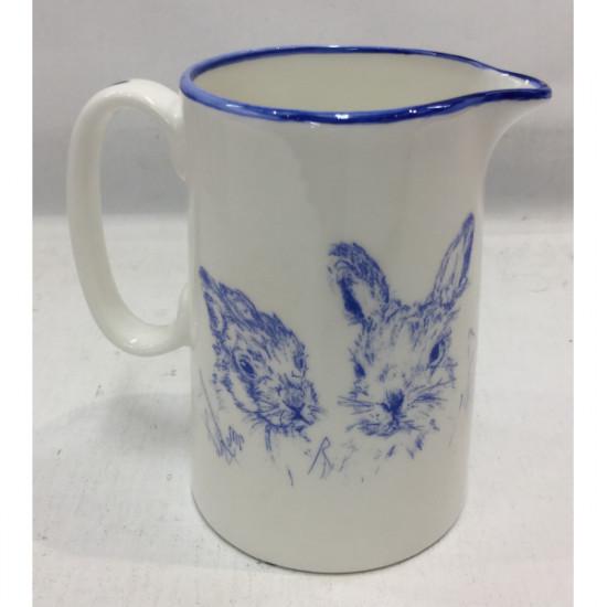 Muffet Monro-1/2 pint jug blue/white - Hare & leverets