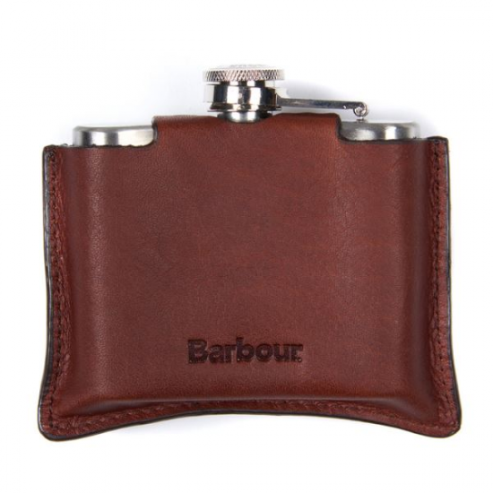 Barbour-Hip Flask 4oz Brown