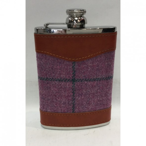 Bonart-Hip flask Tweed 8 oz - Purple