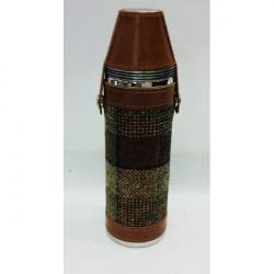 Bonart-Hunter flask round + cups - BrownTweed 10 oz