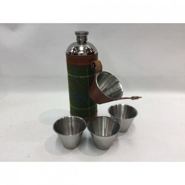 Bonart-Hunter flask round + cups - Green Tweed 10 oz