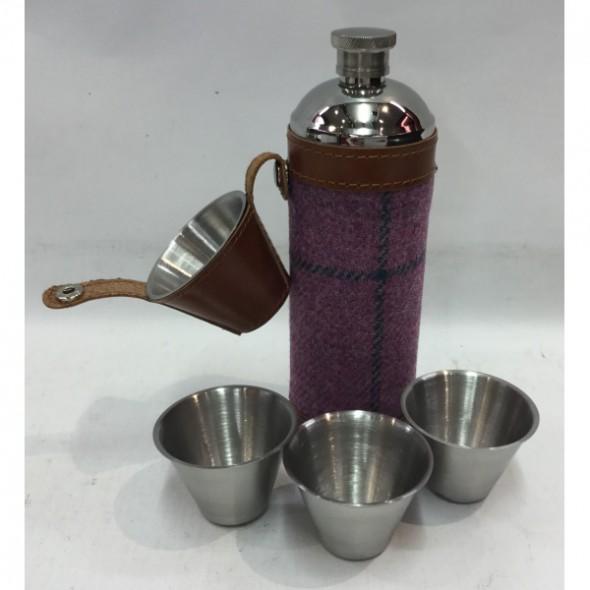 Bonart-Hunter flask round + cups - PurpleTweed 10 oz