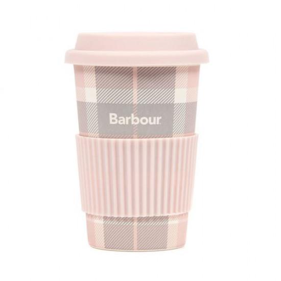 Barbour-Tartan Travel Mug - Pink/Grey Tartan