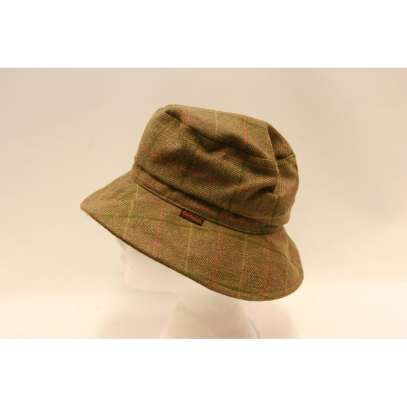 Barbour-Ladies sports hat Pink check tweed
