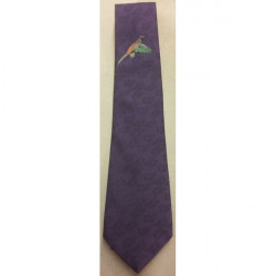 Atkinsons-Polyester Tie Large Flying U/K Pheasant on Purple