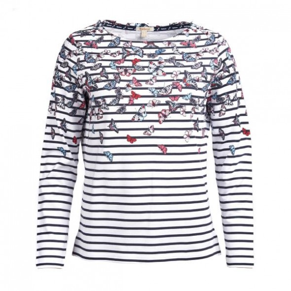 Barbour Bowfell Top - White/Navy
