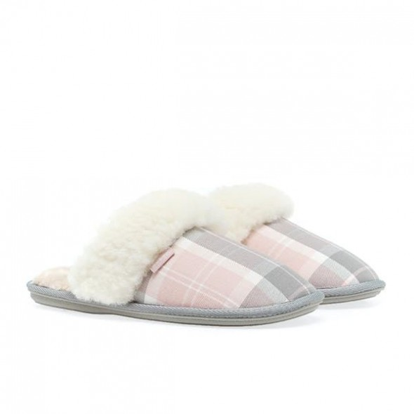 Barbour-Ladies Lydia Mule Slippers Pink/Grey
