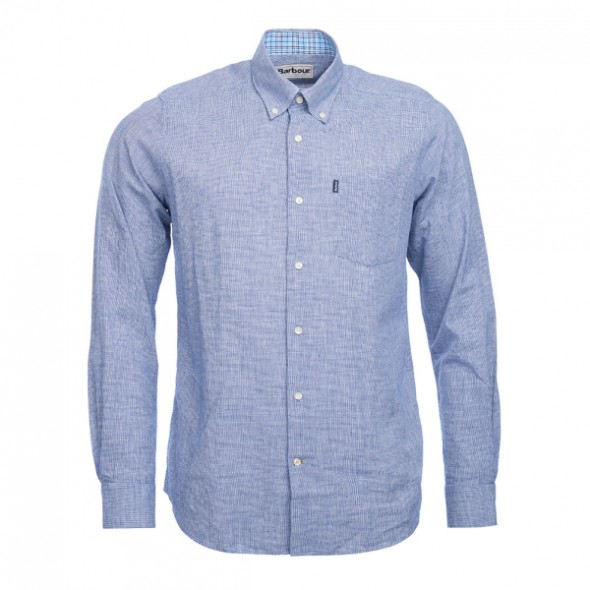 Barbour-Austin shirt Linen  (TF) Navy