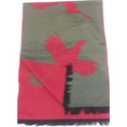 Atkinsons-Pheasant Scarf - Olive / Red