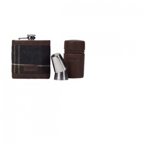 Barbour-Tartan Hip flask and cups/classic tartan