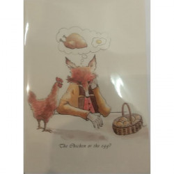Leila Winslade-Card Farcical Foxes - The Chicken Or The Egg?