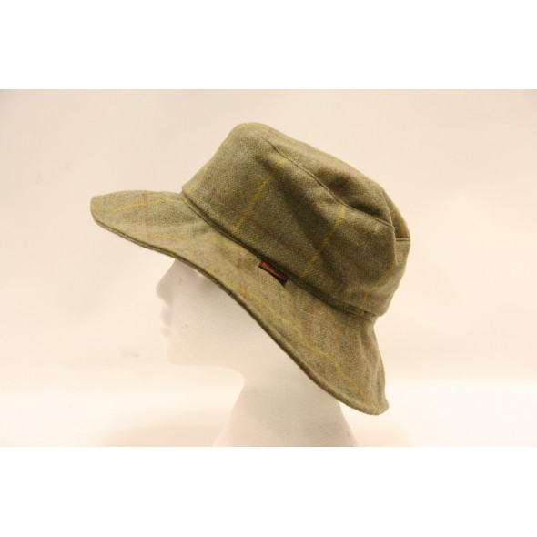 Barbour-Ladies sports hat Yellow check tweed